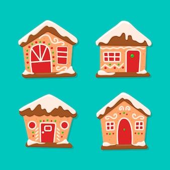 Colección de la casa de pan de jengibre para navidad
