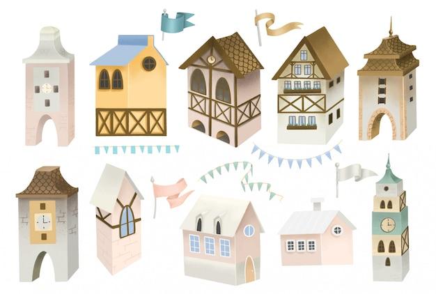 Colección de casas bávaras, torres, banderas y guirnaldas; ilustración pintada a mano, objetos aislados sobre un fondo blanco.