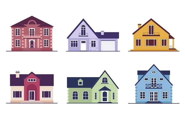 Colección de casas de colores aisladas