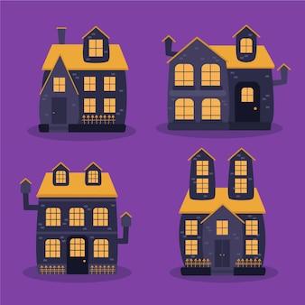 Colección de casas embrujadas de halloween en diseño plano