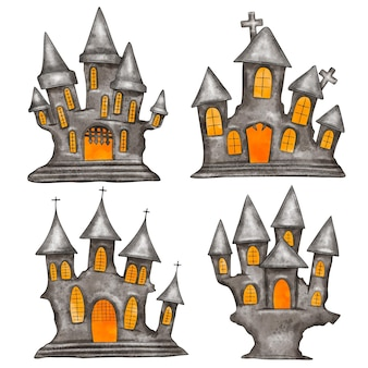 Colección de casas encantadas de halloween en acuarela
