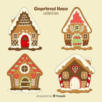 Colección de casas de galleta de jengibre dibujada a mano