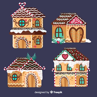 Colección de casas de galleta de jengibre dibujadas a mano
