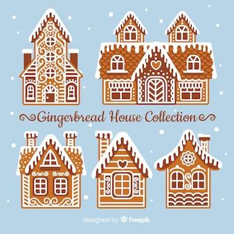 Colección casas pan de jengibre decoración intrincada
