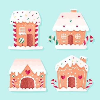 Colección de casas de pan de jengibre de diseño plano
