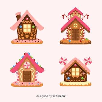 Colección casas pan de jengibre monos