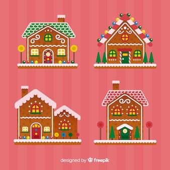 Colección casas pan de jengibre navideñas