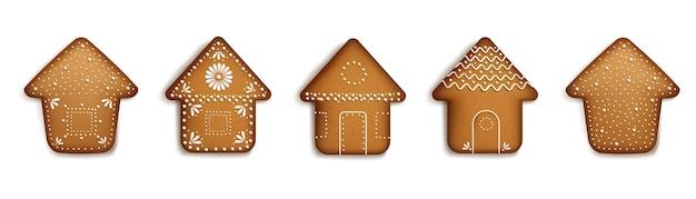 Colección de casas de pan de jengibre realista.