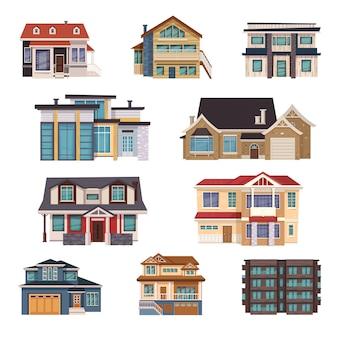 Colección de casas suburbanas