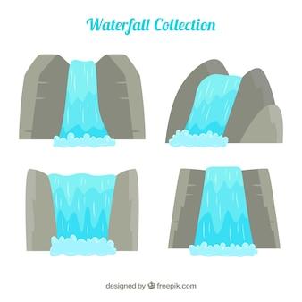 Colección de cascadas en estilo caricatura