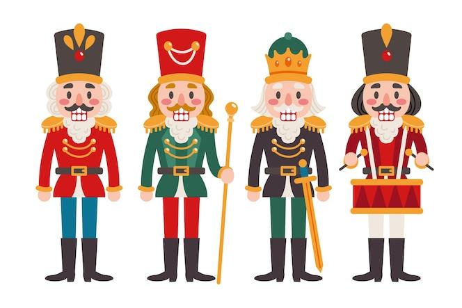 Colección cascanueces navideños planos dibujados a mano