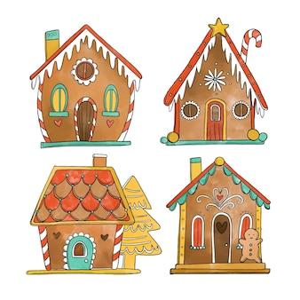 Colección de casitas de jengibre en acuarela
