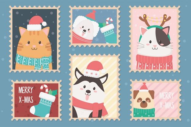 Colección celebración feliz navidad sellos