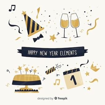Colección cena año nuevo elementos dorados