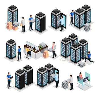 Colección de centros de datos isométricos con ingenieros que reparan y mantienen equipos de servidores de alojamiento aislados