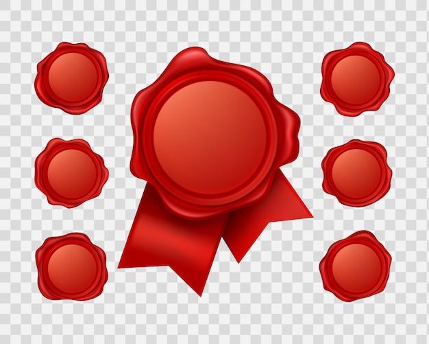 Colección de cera de sellado roja realista