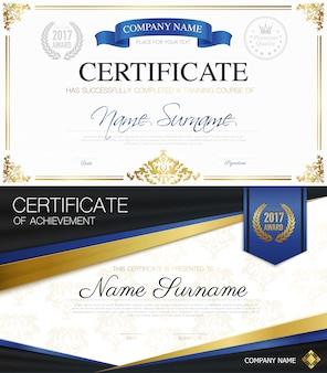 Colección de certificados elegantes clásicos