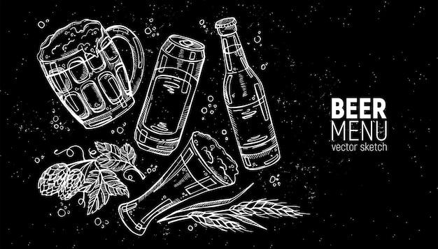 Colección de cerveza dibujada a mano