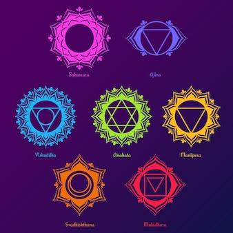 Colección de chakras de colores específicos.