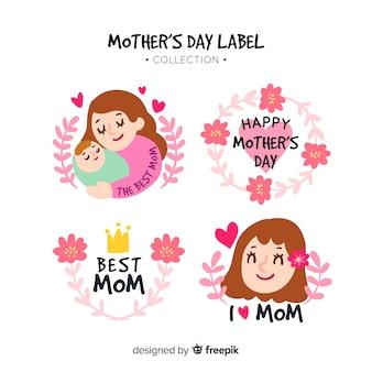 Colección chapas día de la madre coronas dibujadas a mano