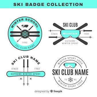Colección de chapas de esquí y snow en diseño plano