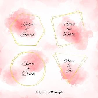 Colección chapas manchas de acuarela boda