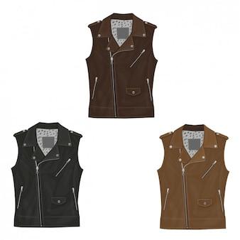 Colección de chaqueta de cuero sin mangas