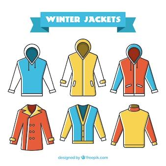Colección de chaquetas en diseño plano