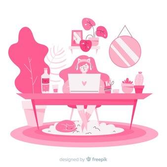 Colección chica en casa dibujada a mano