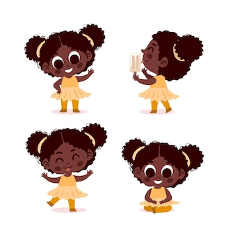 Colección de chica negra en diferentes poses