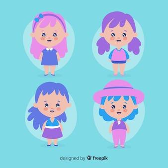 Colección chicas adorables dibujadas a mano