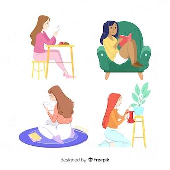 Colección chicas en casa dibujadas a mano