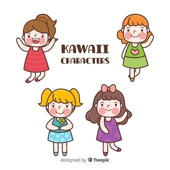 Colección chicas kawaii dibujados a mano