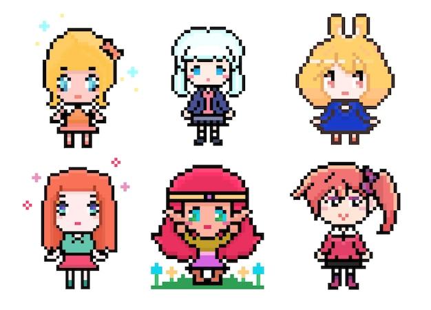 Colección de chicas lindas de anime pixel