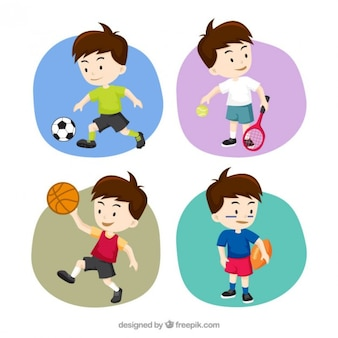 Colección de chicos deportistas