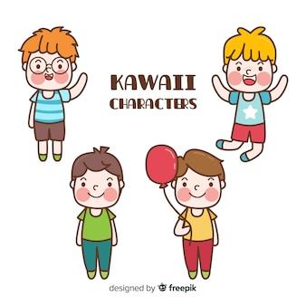 Colección chicos kawaii dibujados a mano