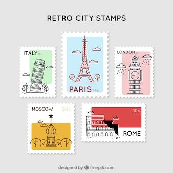 Colección de cinco sellos de ciudad