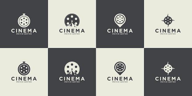 Colección de cine y colección de emblemas de películas retro.