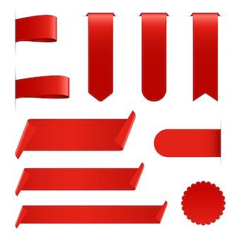 Colección de la cinta roja aislada