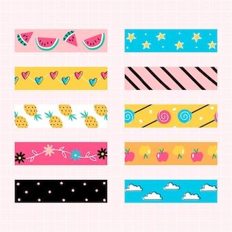 Colección de cinta de scrapbook con estampado de colores