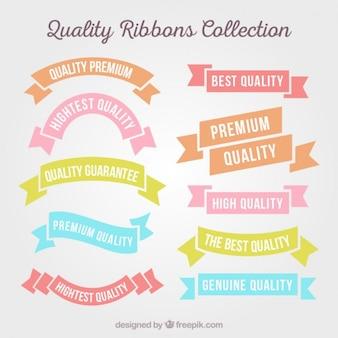 Colección de cintas de calidad planas de colores