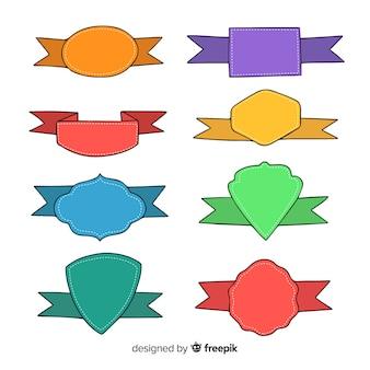 Colección cintas coloridas dibujadas a mano