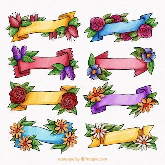 Colección de cintas elegantes de acuarela de primavera