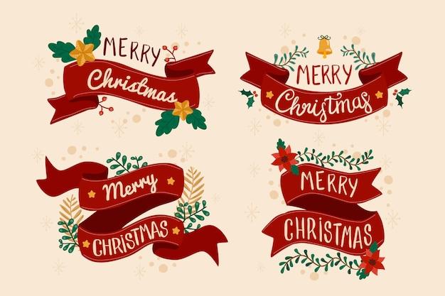Colección de cintas de navidad dibujadas a mano