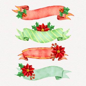 Colección de cintas navideñas en acuarela