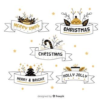 Colección de cintas navideñas dibujadas a mano sobre fondo blanco