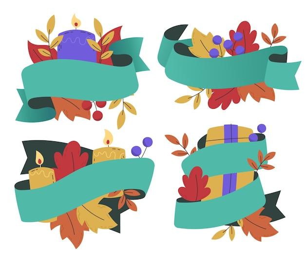 Colección de cintas navideñas dibujadas a mano