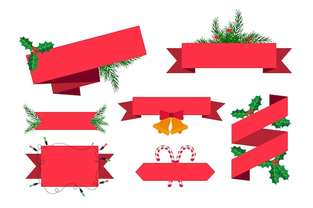 Colección de cintas navideñas de diseño plano