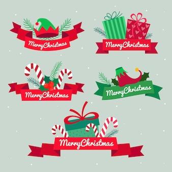Colección de cintas navideñas en diseño plano