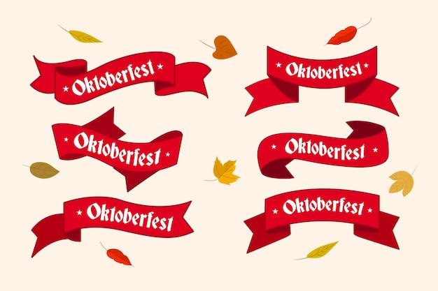 Colección de cintas de oktoberfest dibujadas a mano